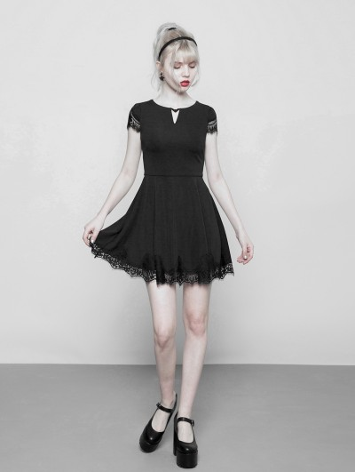Punk Rave Black Gothic V-Collar Short Casual Dress with Lace Hem