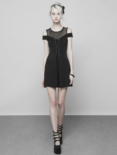 Punk Rave Black Gothic Off-the-Shoulder Short Casual Dress
