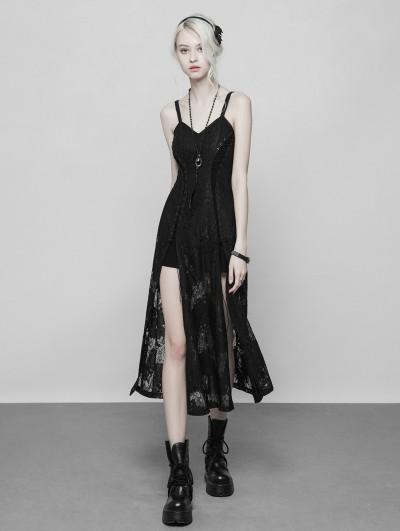 Punk Rave Black Gothic Lace Strap Heavy Industry Slit Long Dress