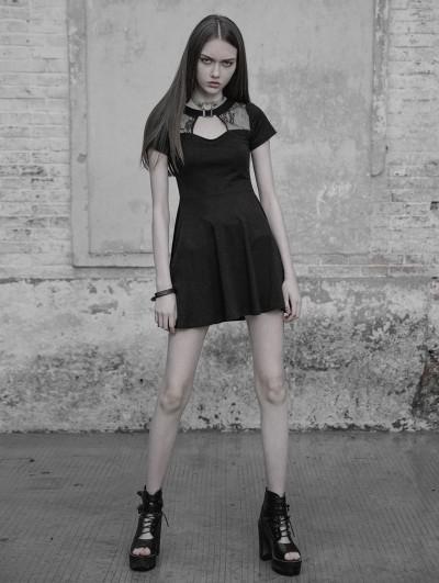 Punk Rave Black Gothic Hollow Lace Short Casual Dress
