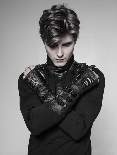 Punk Rave Black Gothic Punk Metal Gloves for Men