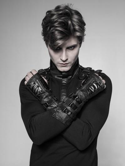 Punk Rave Black Gothic Punk Metal Gloves for Men
