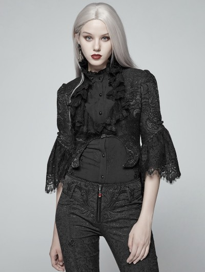 Punk Rave Black Gothic Lace Short Jacket for Women