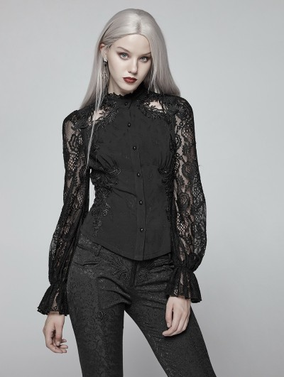 Punk Rave Black Gorgeous Gothic Lace Long Sleeve Shirt for Women