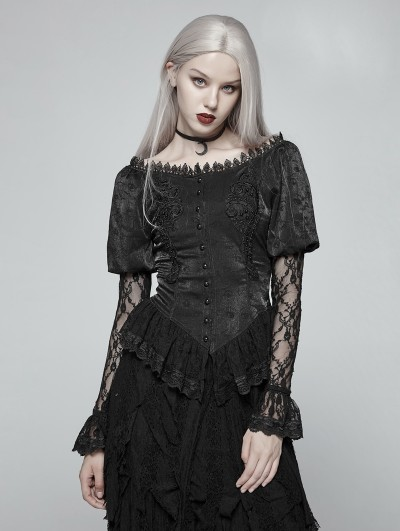 Punk Rave Black Gothic Lace Lantern Long Sleeve Shirt for Women