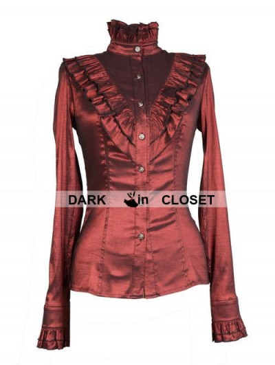 Pentagramme Wine Red High Collar Long Sleeves Ruffle Gothic Blouse for Women