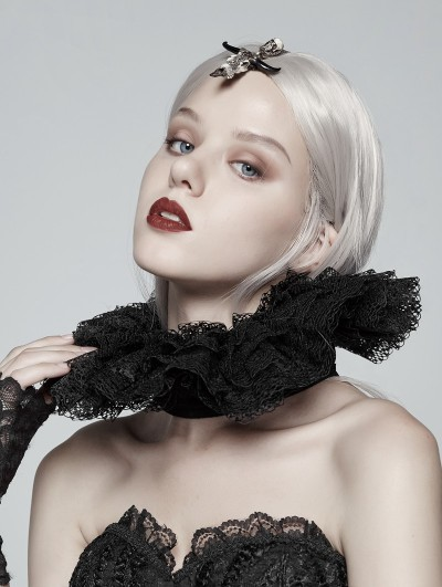 Punk Rave Black Gothic Victorian Lace Collar