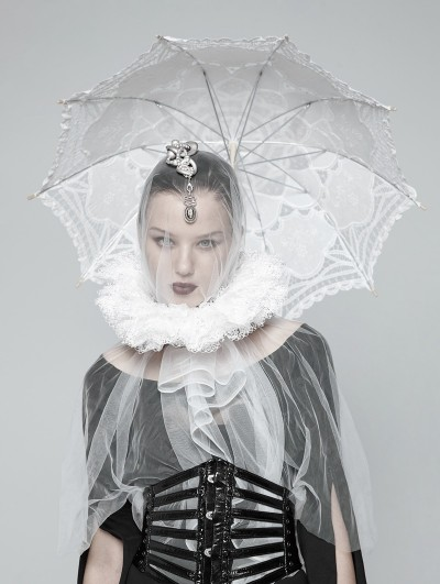 Punk Rave White Gothic Victoria Lace collar