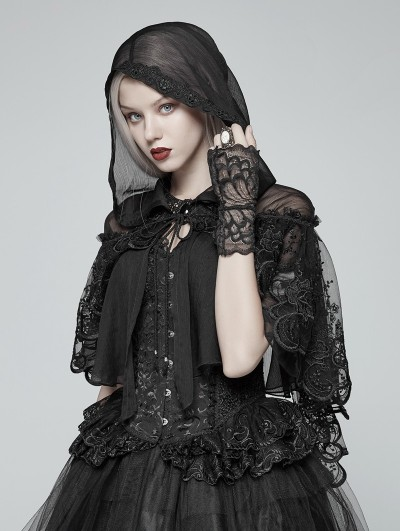 Punk Rave Black Gothic Lolita Small Cloak Shawl with Hood