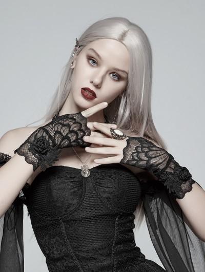Punk Rave Black Gothic Lace Flower Gloves
