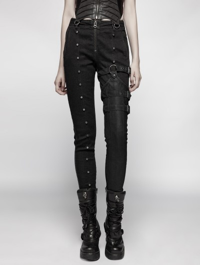 Punk Rave Black Steampunk Rivet Belt Trousers for Women