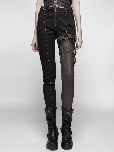 Punk Rave Brown and Black Steampunk Rivet Belt Trousers for Women