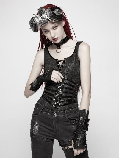 Punk Rave Black Gothic Punk PU Girdle for Women