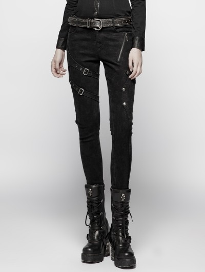 Punk Rave Black Gothic Punk Floral Denim Trousers for Women