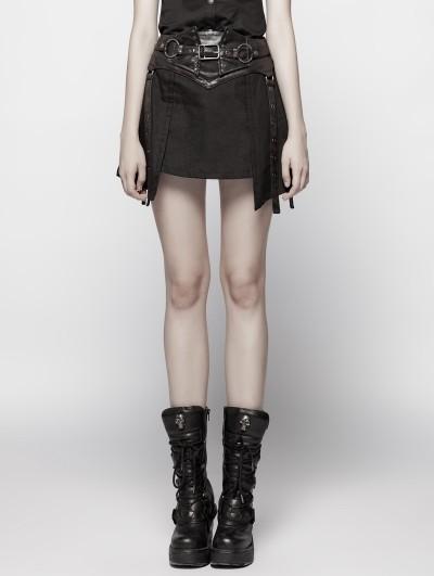Punk Rave Black Gothic Punk Girdle Half Skirt for Women