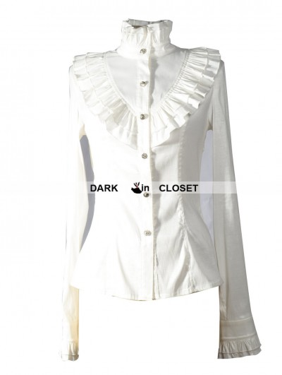 Pentagramme White High Collar Long Sleeves Ruffle Gothic Blouse for Women