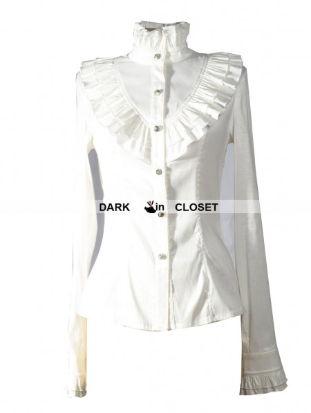 Pentagramme White High Collar Long Sleeves Ruffle Gothic Blouse For