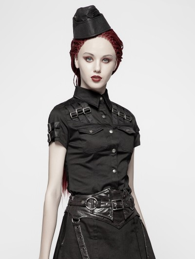Punk Rave Black Gothic Military Short Sleeve Shirt for Women