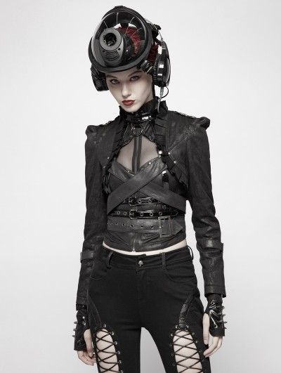 Punk Rave Black Gothic Military Uniform Handsome Short Coat for Women