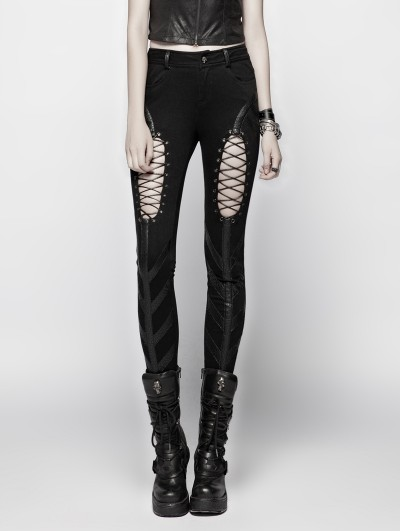 Punk Rave Black Gothic Punk Hollow-out Stretch Trousers for Women