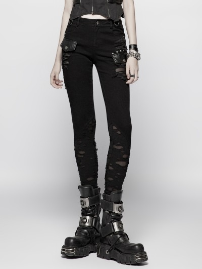 Punk Rave Black Gothic Punk Broken Hole Trousers for Women