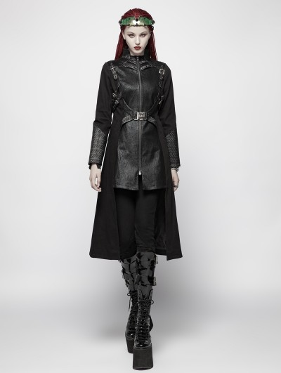 Punk Rave Black Gothic Punk Warrior Long Coat for Women