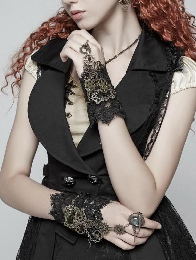 Punk Rave Black Steampunk Lace Gear Gloves