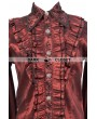 Pentagramme Wine Red Pattern Long Sleeves Ruffle Gothic Blouse for Men