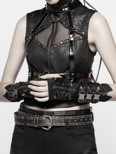 Punk Rave Black Gothic Punk Metal Gloves for Women