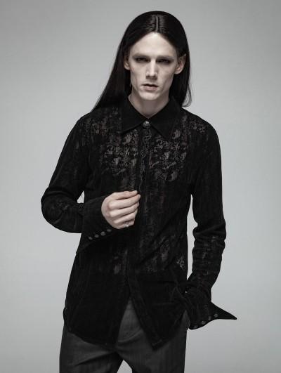 Punk Rave Black Gothic Lace Flocking Shirt for Men