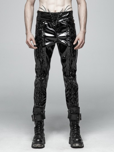 Punk Rave Black Gothic Punk Glossy Latex Trousers for Men