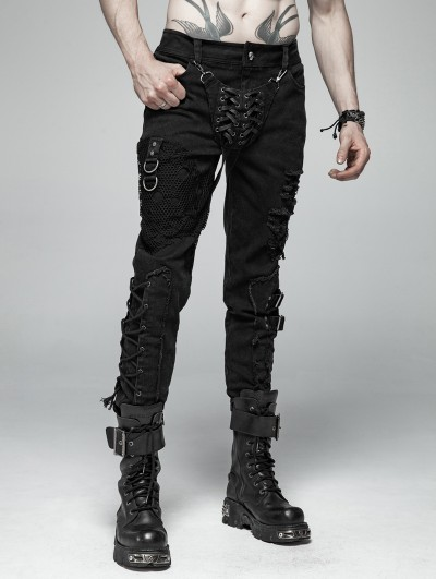 Punk Rave Black Gothic Punk Personality Trousers for Men