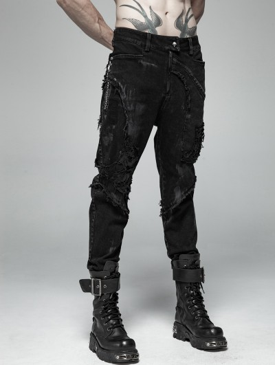 Punk Rave Black Gothic Punk Broken Hole Net Trousers for Men