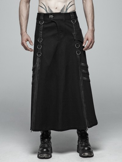 Punk Rave Black Gothic Punk Long Half Skirt for Men