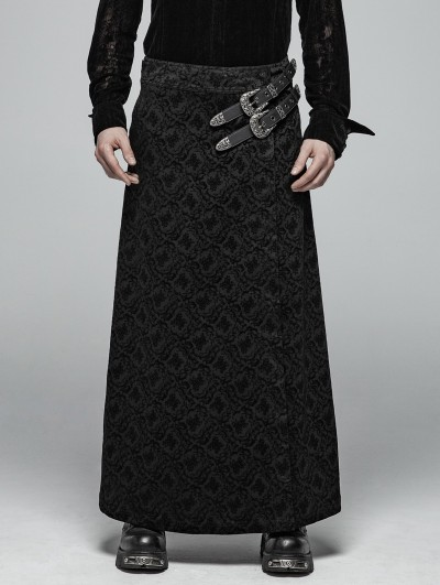 Punk Rave Black Vintage Pattern Gothic Personality Long Skirt for Men