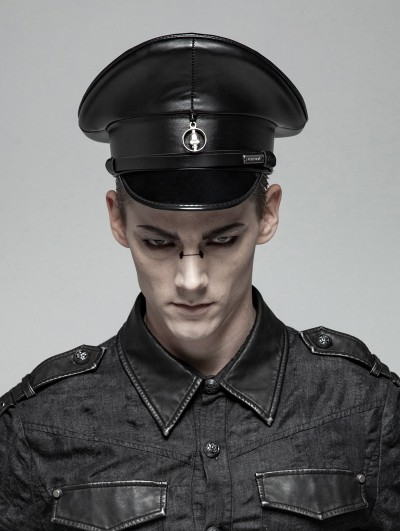 Punk Rave Black Gothic Punk Personality PU Hat for Men