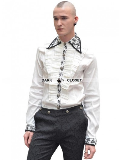 Pentagramme White Pattern Long Sleeves Ruffle Gothic Blouse for Men