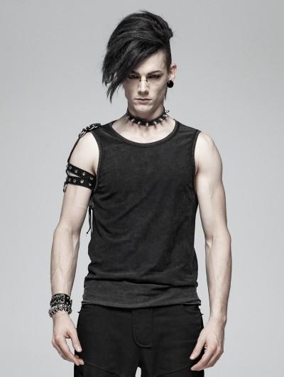 Punk Rave Black Men's Gothic Punk Tank Top with Detachable Shoulder Accessory