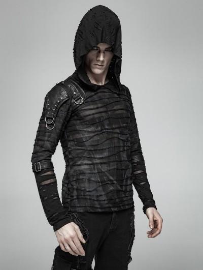 Punk Rave Black Gothic Punk Dark Printing Hooded T-Shirt for Men