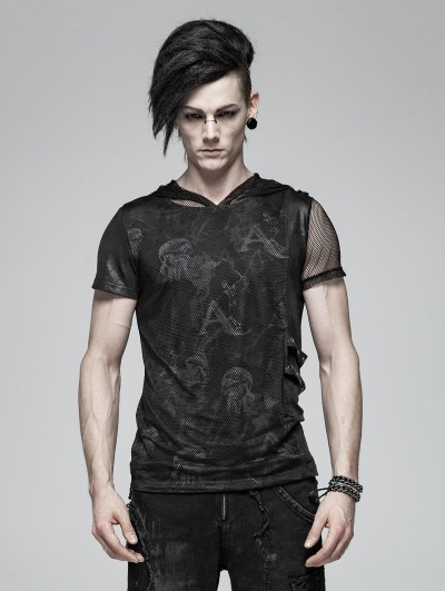 Punk Rave Black Gothic Punk Print Short Sleeve Hooded T-Shirt for Men