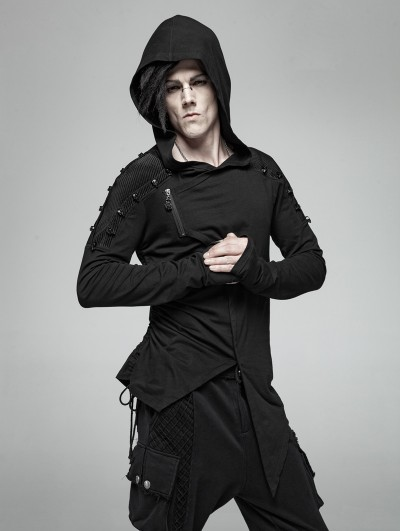 Punk Rave Black Gothic Punk Long Sleeve Hooded Asymmetric Shirt for Men