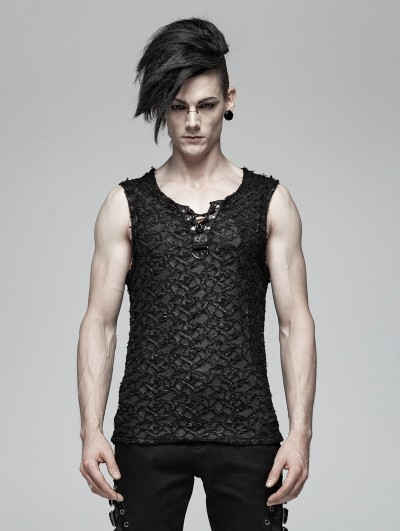 Punk Rave Black Gothic Punk Tank Top for Men