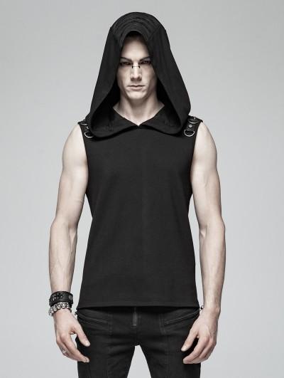 Punk Rave Black Gothic Punk Sleeveless Hooded Tank Top for Men
