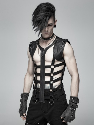 Punk Rave Black Gothic Punk Personality Skeleton Vest Top for Men