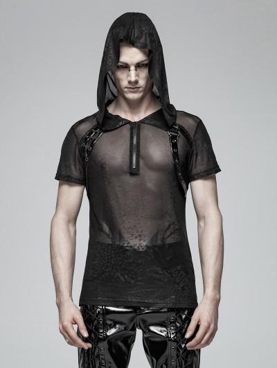 Punk Rave Black Gothic Punk Perspective Short Sleeve Hooded T-Shirt for Men