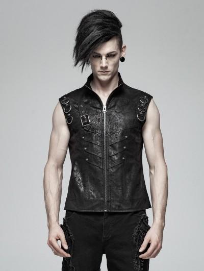 Punk Rave Black Gothic Punk Sleeveless Vest Top for Men