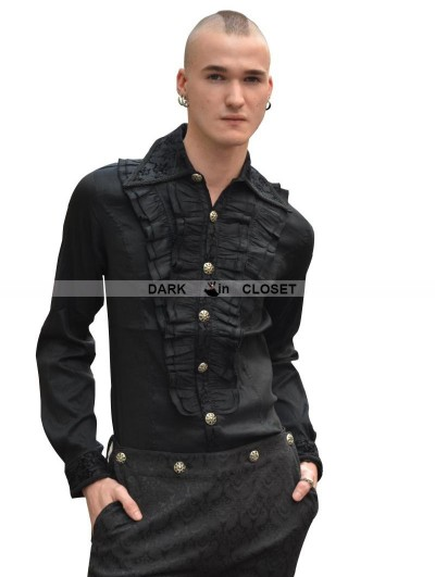 Pentagramme Black Pattern Long Sleeves Ruffle Gothic Blouse for Men