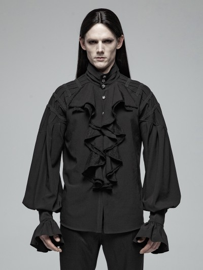 Punk Rave Black Gothic Victorian Loose Long Sleeve Shirt for Men