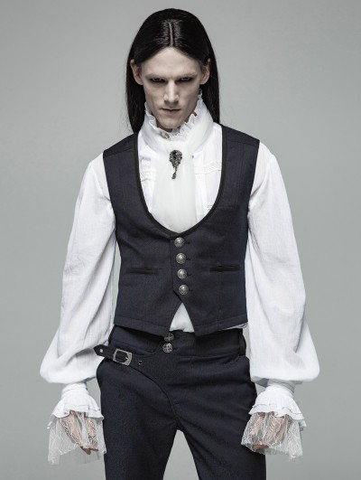 Punk Rave Blue Vintage Gothic Gentleman Simple Vest for Men