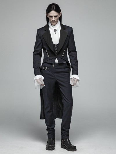 Punk Rave Blue Vintage Gentleman Gothic Tail Coat for Men